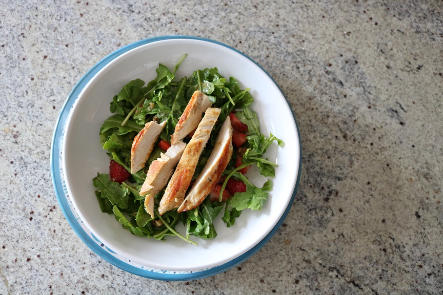 Strawberry Chicken Arugula Salad